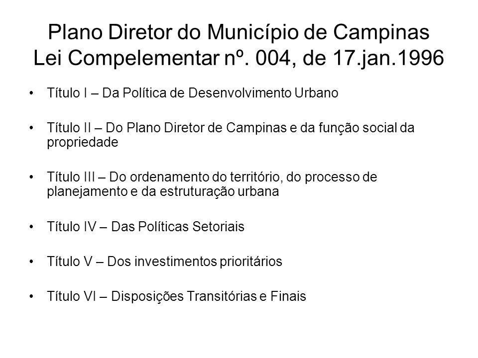 Plano Diretor do Município de Campinas Lei Compelementar nº. 004, de 17.jan.1996