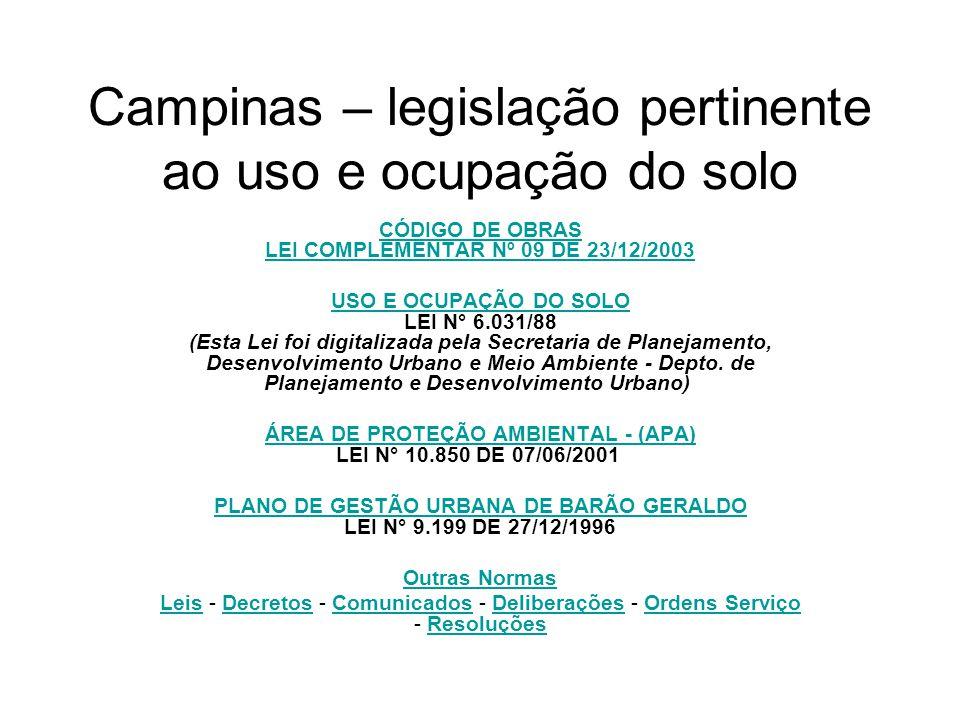 Campinas – legislação pertinente ao uso e ocupação do solo