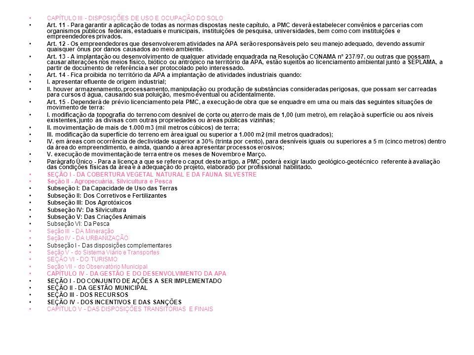 CAPÍTULO III - DISPOSIÇÕES DE USO E OCUPAÇÃO DO SOLO