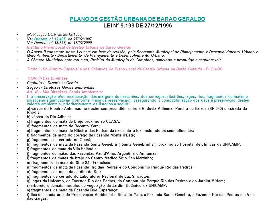 PLANO DE GESTÃO URBANA DE BARÃO GERALDO LEI N° 9.199 DE 27/12/1996