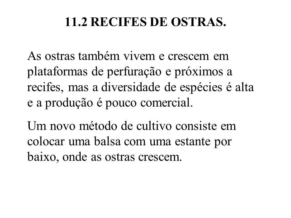 11.2 RECIFES DE OSTRAS.