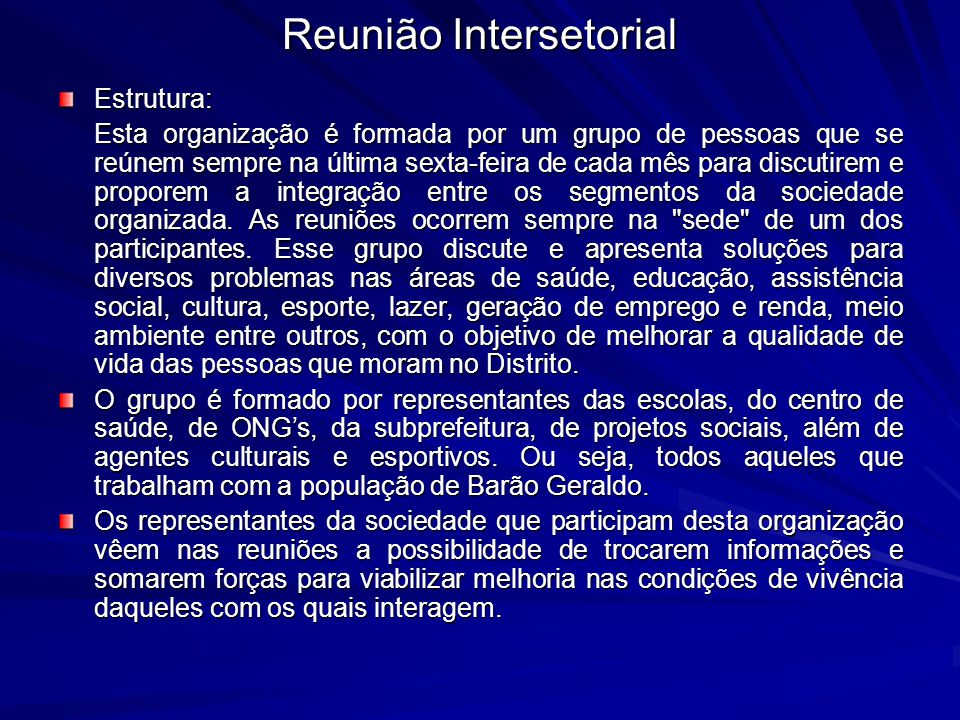Reunião Intersetorial