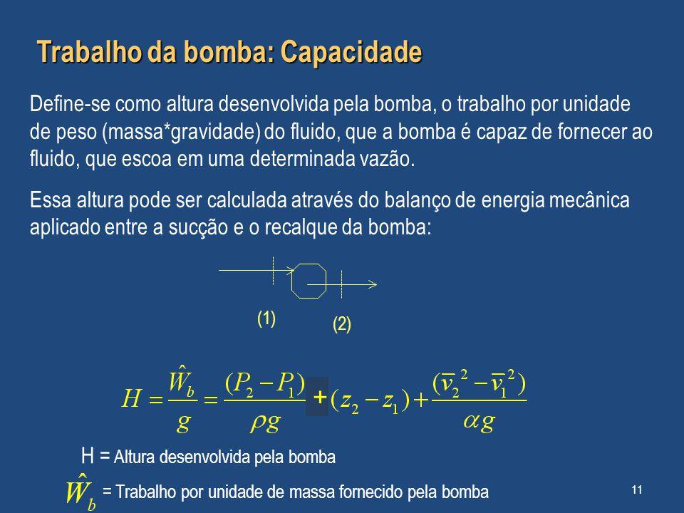 Trabalho da bomba: Capacidade