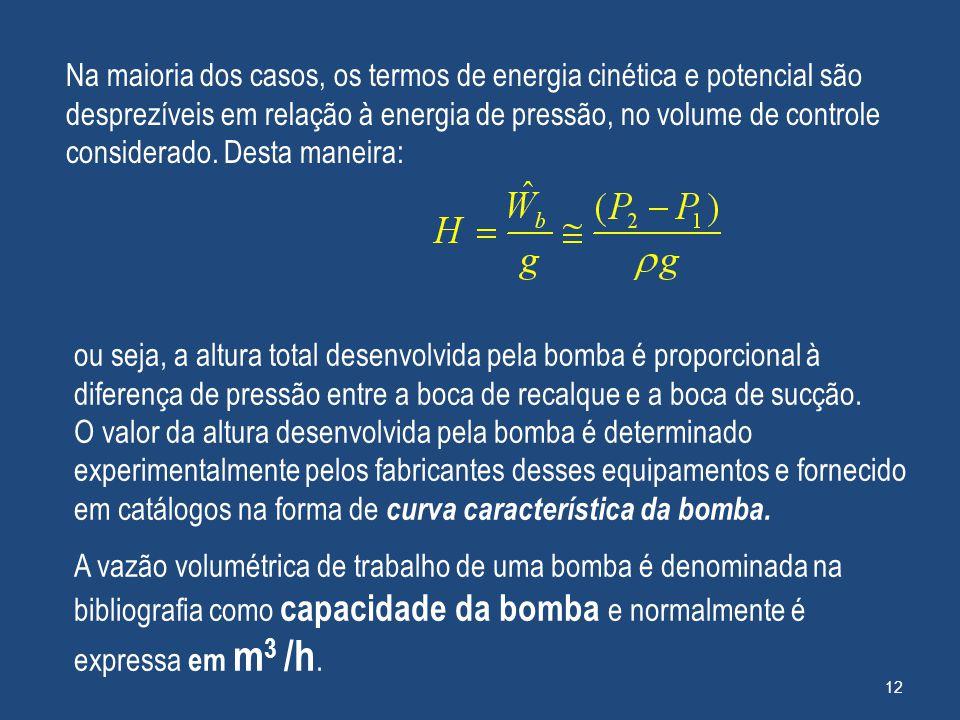 Na maioria dos casos, os termos de energia cinética e potencial são desprezíveis em relação à energia de pressão, no volume de controle considerado. Desta maneira: