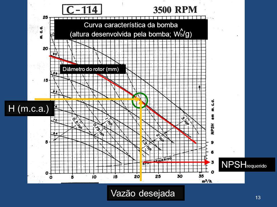 Curva característica da bomba (altura desenvolvida pela bomba; Wb/g)