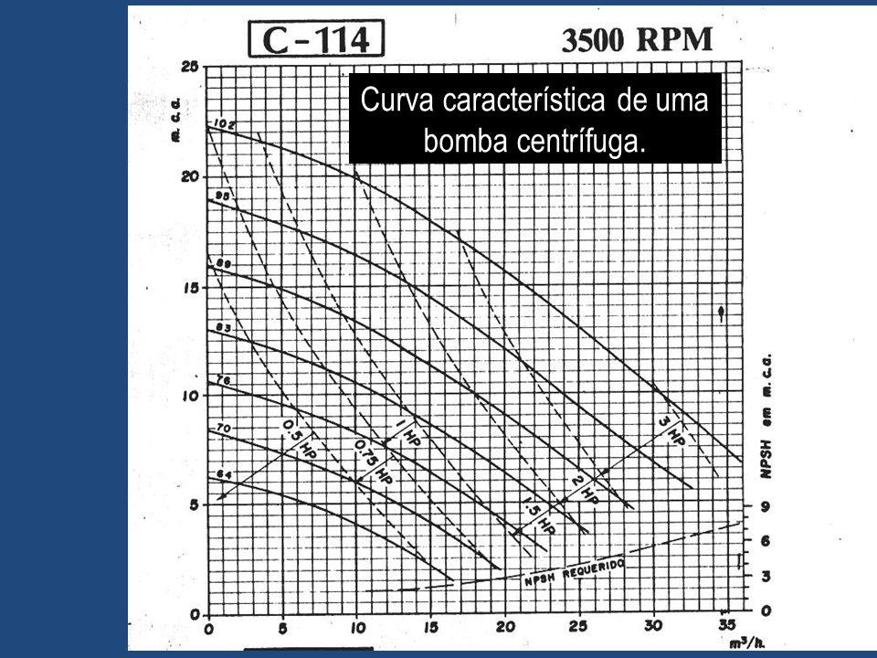Curva característica de uma bomba centrífuga.