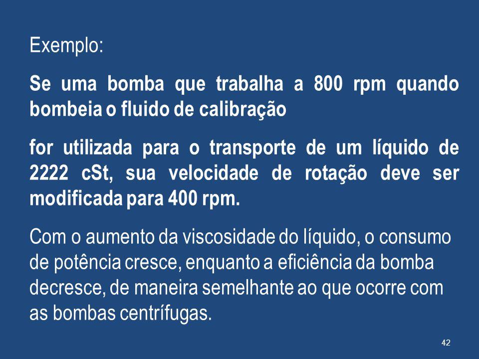 Exemplo: Se uma bomba que trabalha a 800 rpm quando bombeia o fluido de calibração.