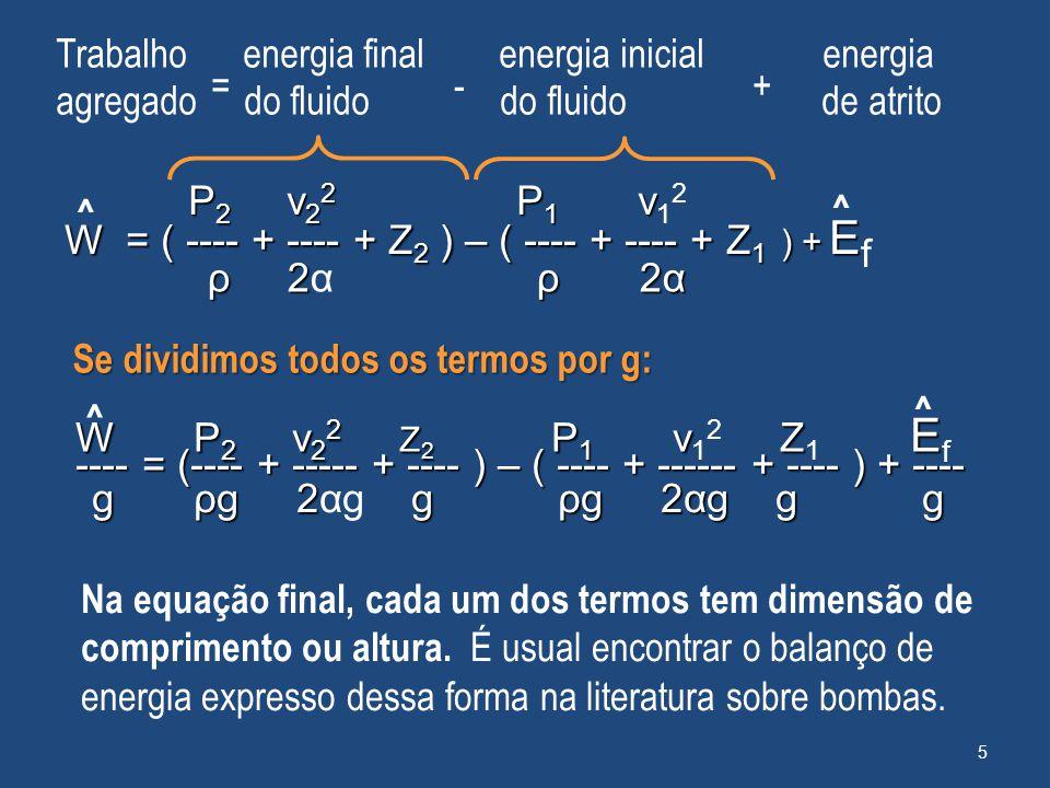 Trabalho energia final energia inicial energia = - +