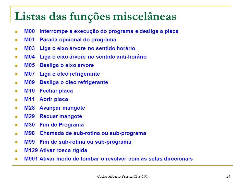 Listas das funções miscelâneas