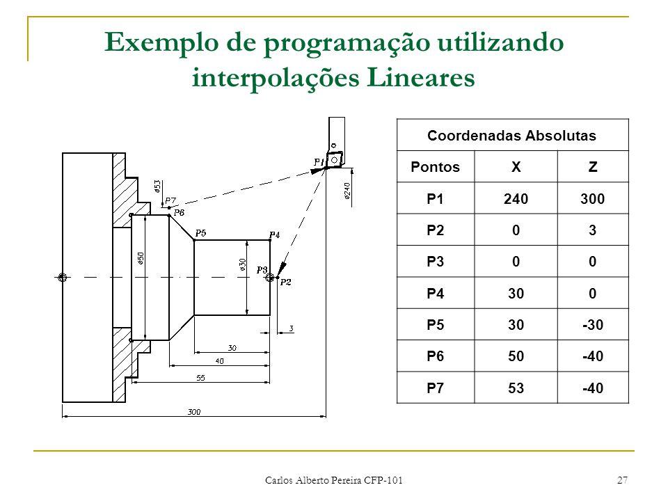 Exemplo de programação utilizando interpolações Lineares