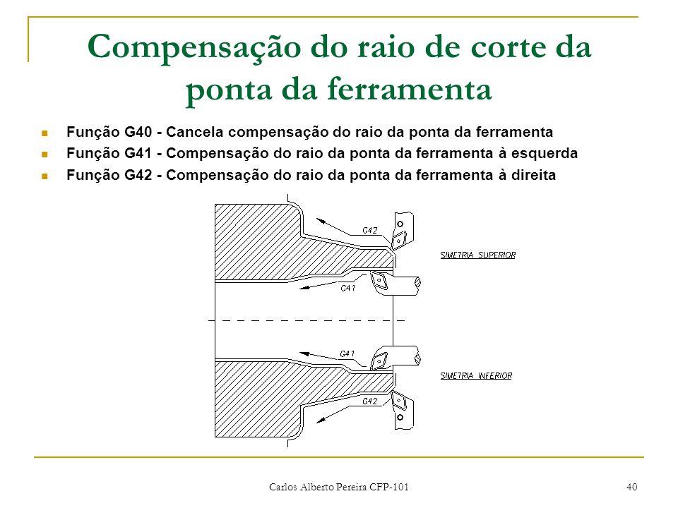 Compensação do raio de corte da ponta da ferramenta