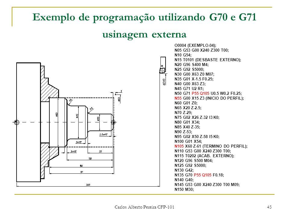 Exemplo de programação utilizando G70 e G71 usinagem externa