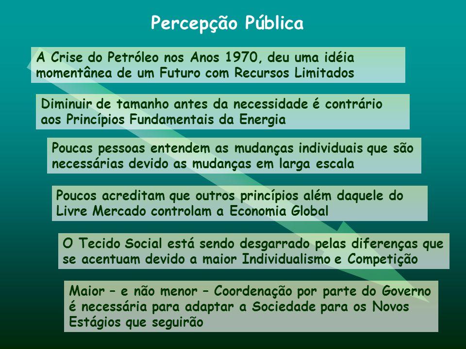 Percepção Pública A Crise do Petróleo nos Anos 1970, deu uma idéia momentânea de um Futuro com Recursos Limitados.