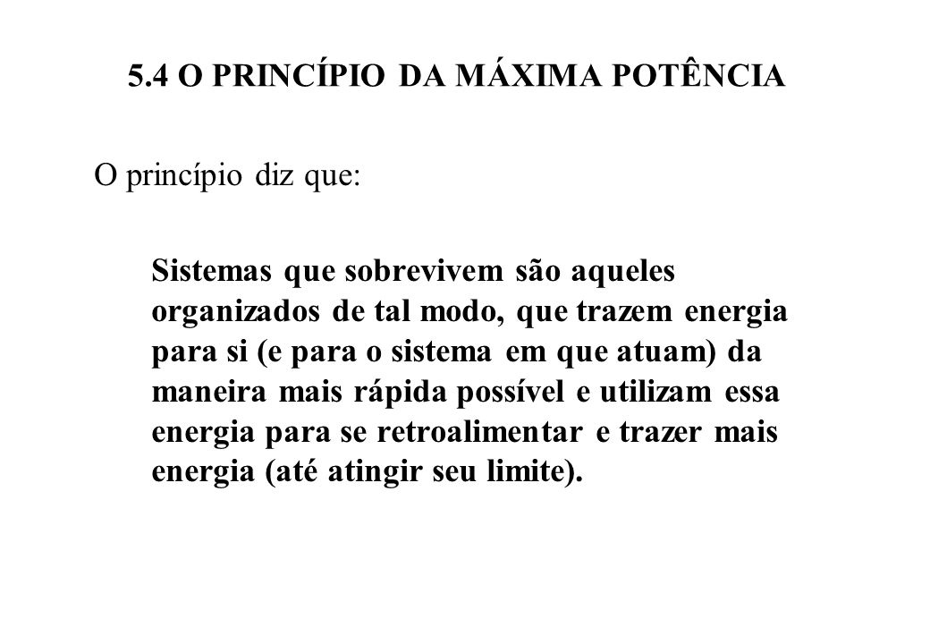 5.4 O PRINCÍPIO DA MÁXIMA POTÊNCIA