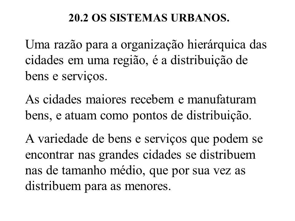 20.2 OS SISTEMAS URBANOS. Uma razão para a organização hierárquica das cidades em uma região, é a distribuição de bens e serviços.
