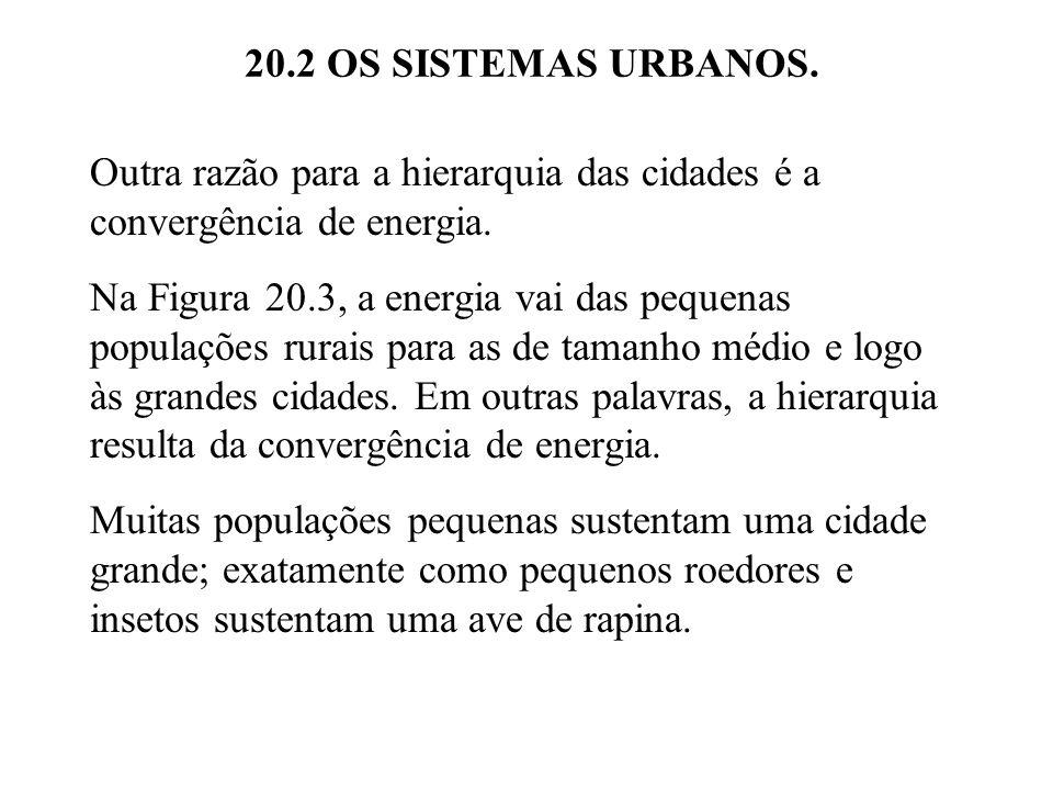 20.2 OS SISTEMAS URBANOS. Outra razão para a hierarquia das cidades é a convergência de energia.
