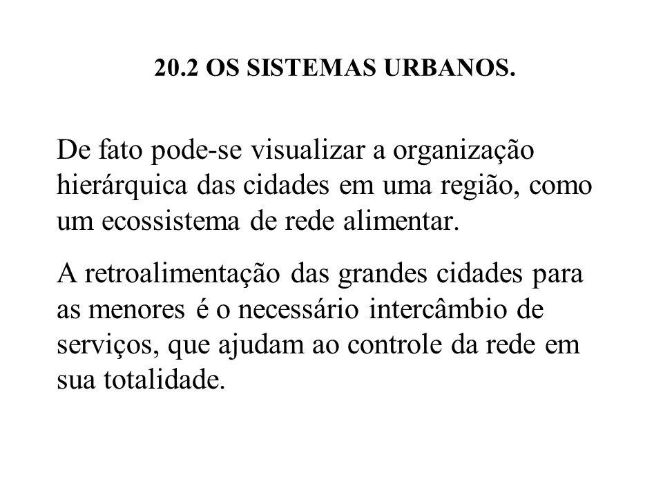 20.2 OS SISTEMAS URBANOS. De fato pode-se visualizar a organização hierárquica das cidades em uma região, como um ecossistema de rede alimentar.