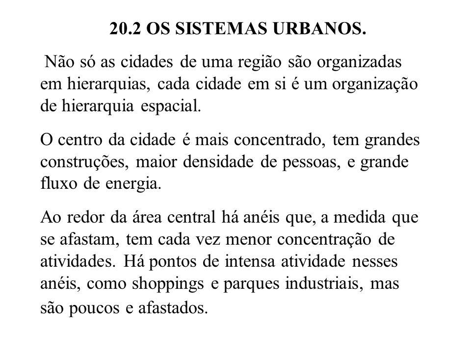 20.2 OS SISTEMAS URBANOS. Não só as cidades de uma região são organizadas em hierarquias, cada cidade em si é um organização de hierarquia espacial.