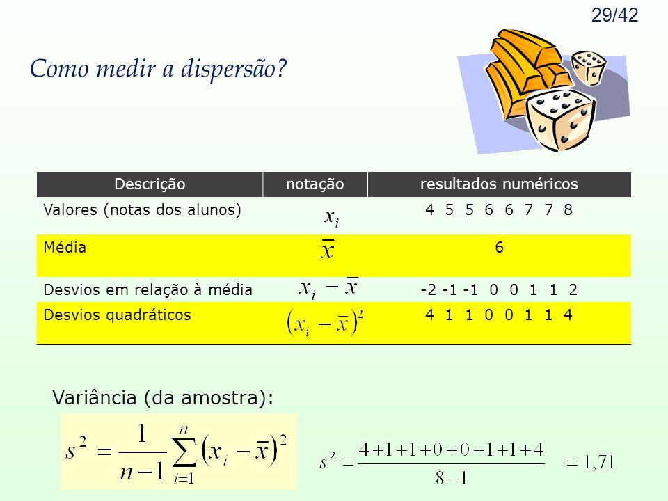Como medir a dispersão xi Variância (da amostra): Descrição notação
