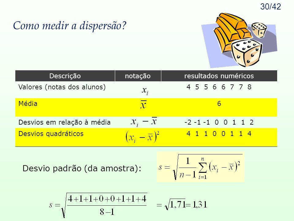 Como medir a dispersão xi Desvio padrão (da amostra): Descrição