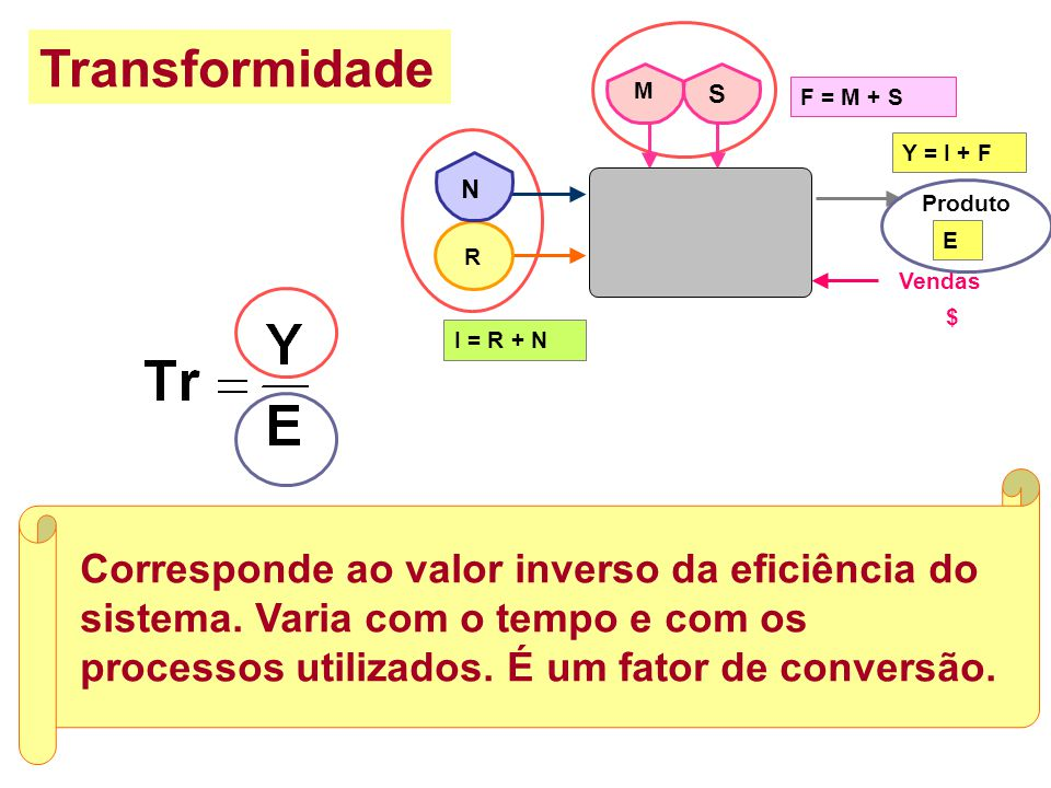 Transformidade F = M + S. R. I = R + N. Produto. Y = I + F. E. Vendas. N. M. S. $