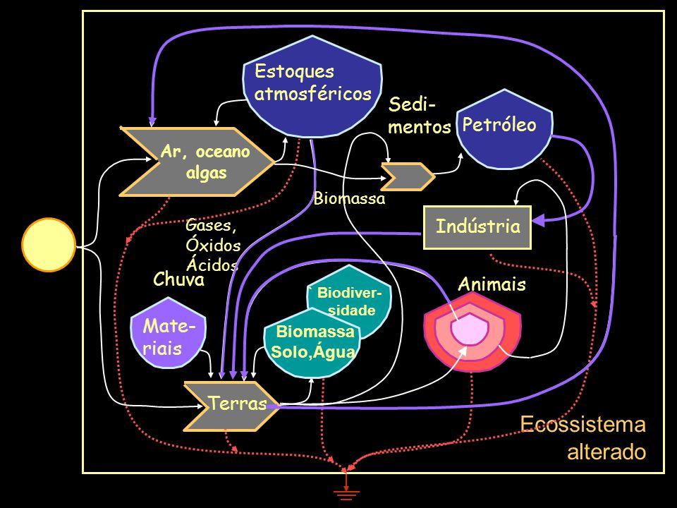 Ecossistema alterado Estoques atmosféricos Sedi-mentos Petróleo