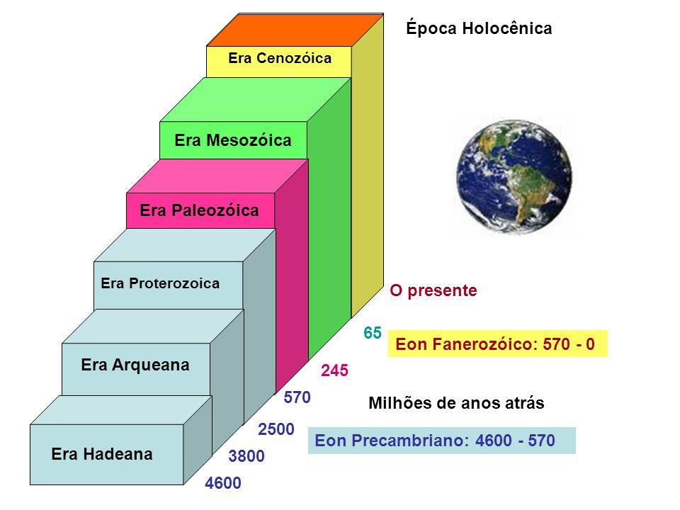 Época Holocênica Era Mesozóica Era Paleozóica O presente 65