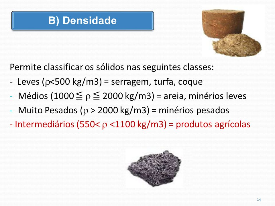 B) Densidade Permite classificar os sólidos nas seguintes classes: