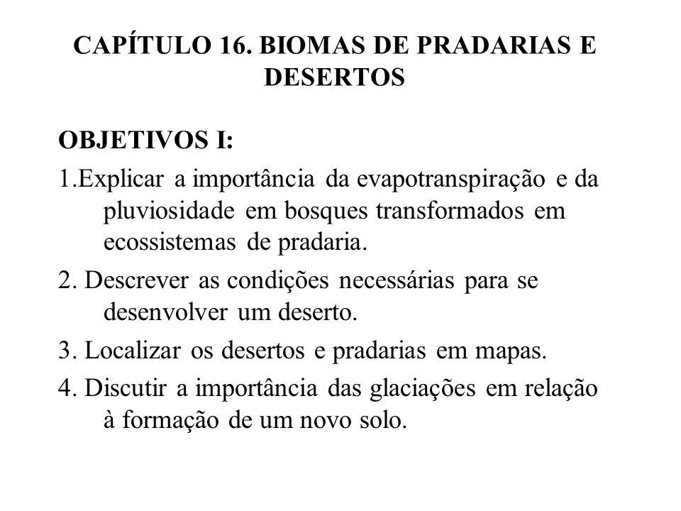 CAPÍTULO 16. BIOMAS DE PRADARIAS E DESERTOS