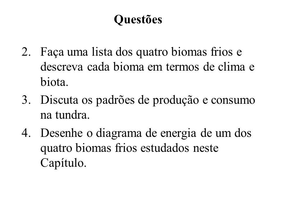 Questões 2. Faça uma lista dos quatro biomas frios e descreva cada bioma em termos de clima e biota.