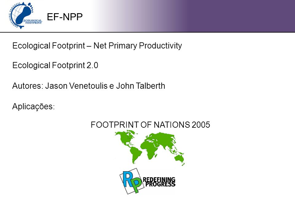 EF-NPP Ecological Footprint – Net Primary Productivity