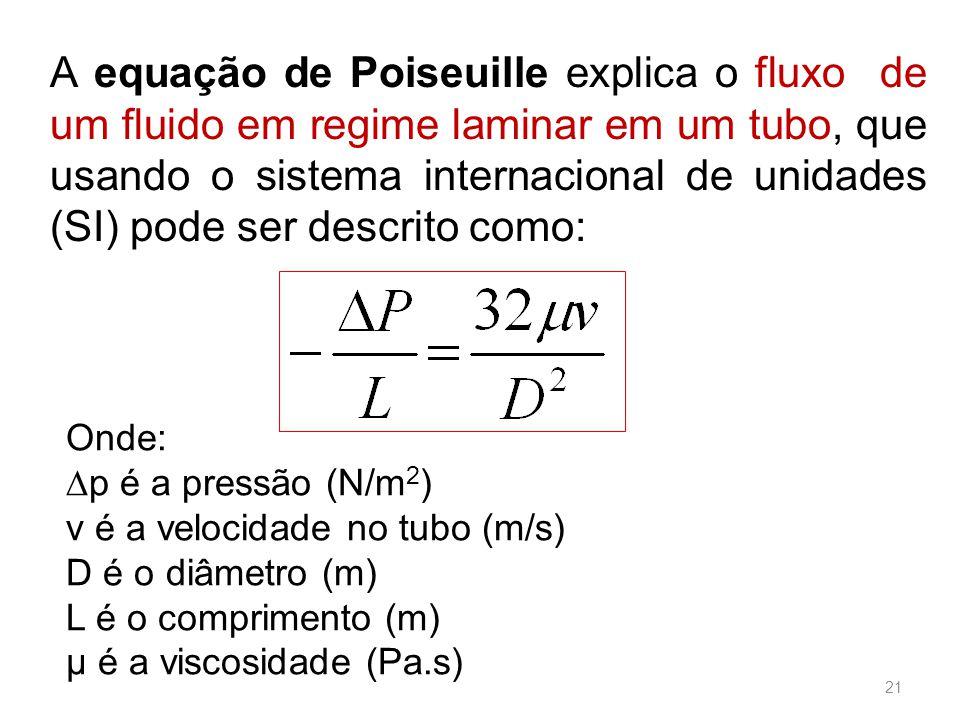 A equação de Poiseuille explica o fluxo de um fluido em regime laminar em um tubo, que usando o sistema internacional de unidades (SI) pode ser descrito como: