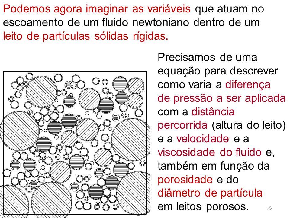 Podemos agora imaginar as variáveis que atuam no escoamento de um fluido newtoniano dentro de um leito de partículas sólidas rígidas.