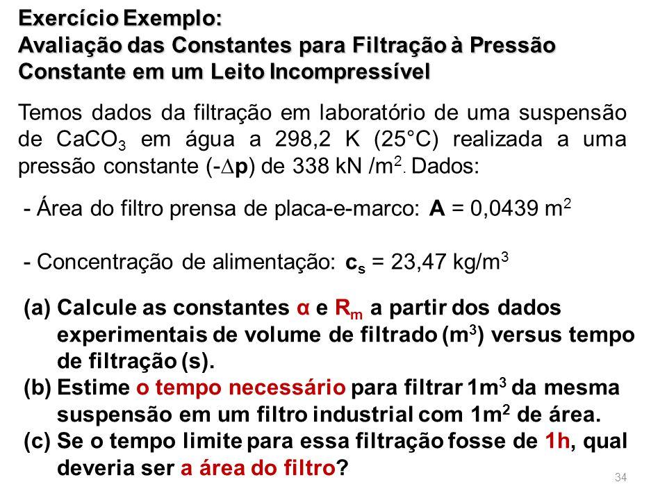 Exercício Exemplo: Avaliação das Constantes para Filtração à Pressão Constante em um Leito Incompressível.