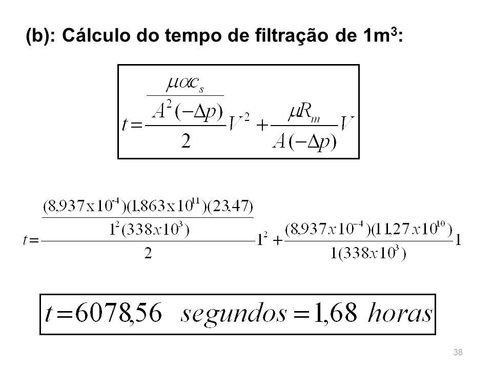 (b): Cálculo do tempo de filtração de 1m3: