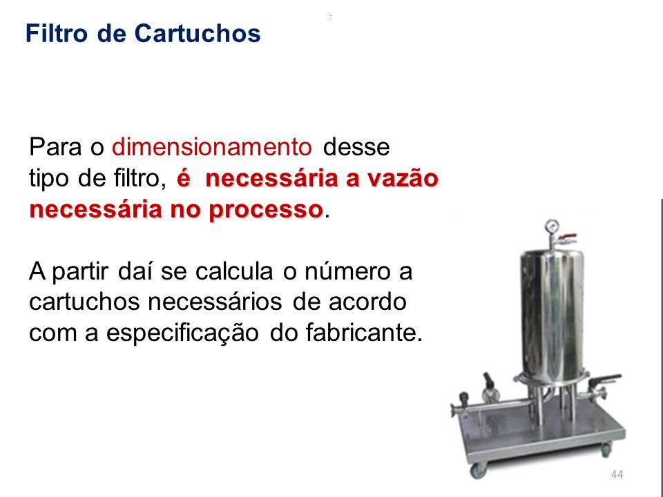: Filtro de Cartuchos. Para o dimensionamento desse tipo de filtro, é necessária a vazão necessária no processo.