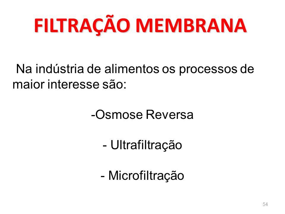 FILTRAÇÃO MEMBRANA Na indústria de alimentos os processos de maior interesse são: Osmose Reversa. Ultrafiltração.