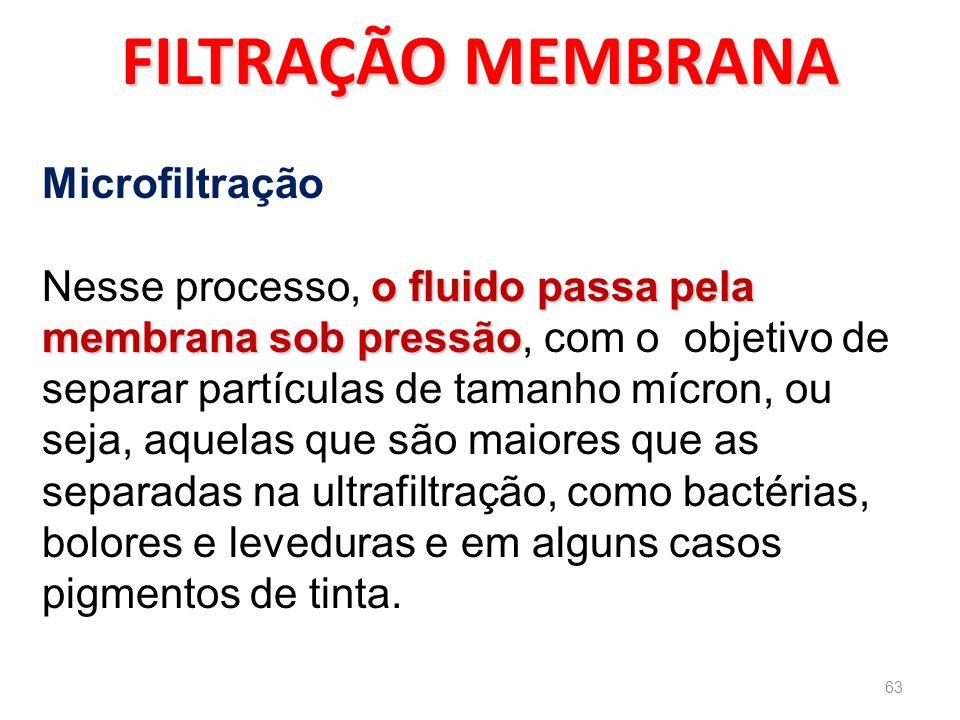 FILTRAÇÃO MEMBRANA Microfiltração