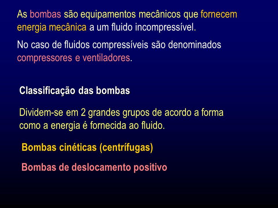 As bombas são equipamentos mecânicos que fornecem energia mecânica a um fluido incompressível.