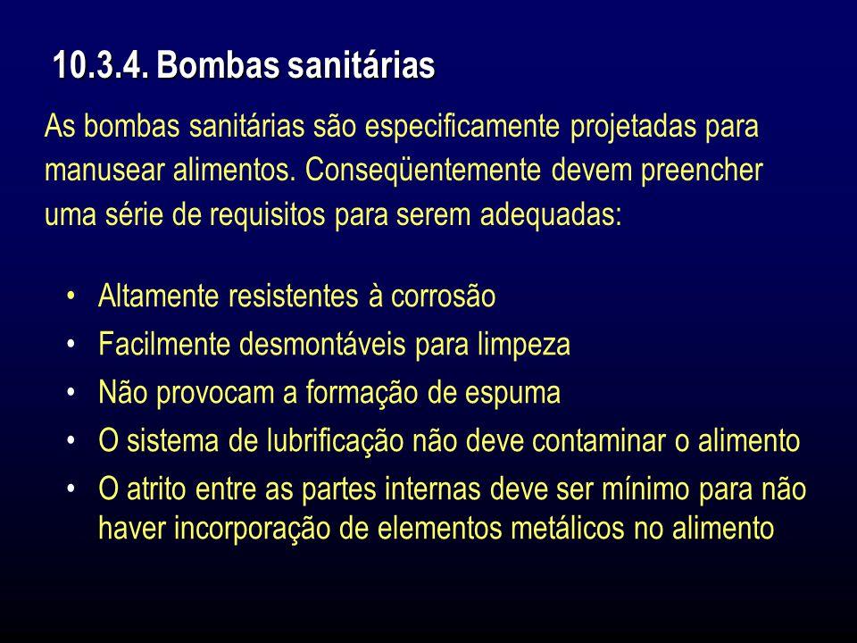 10.3.4. Bombas sanitárias As bombas sanitárias são especificamente projetadas para. manusear alimentos. Conseqüentemente devem preencher.