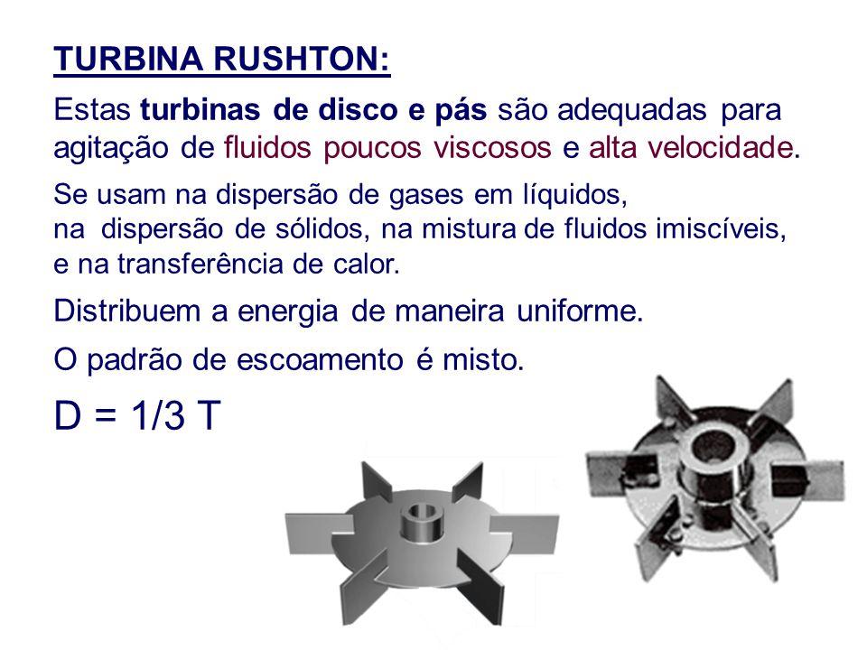 TURBINA RUSHTON: Estas turbinas de disco e pás são adequadas para agitação de fluidos poucos viscosos e alta velocidade.