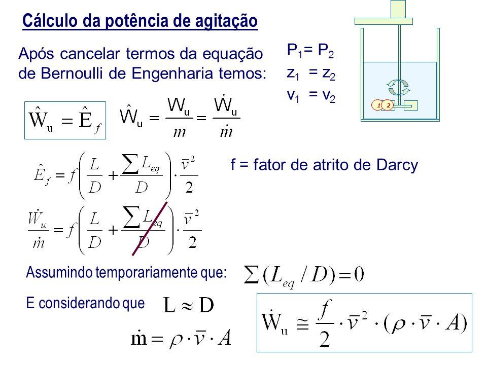 Cálculo da potência de agitação