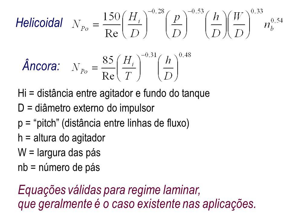 Helicoidal Âncora: Hi = distância entre agitador e fundo do tanque. D = diâmetro externo do impulsor.