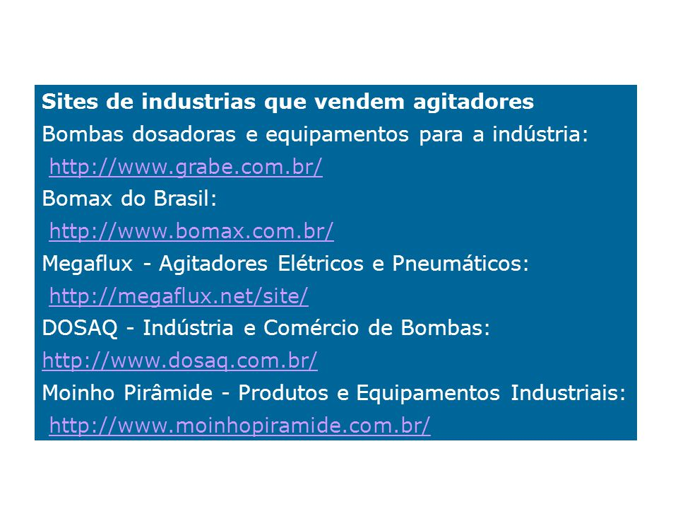 Sites de industrias que vendem agitadores