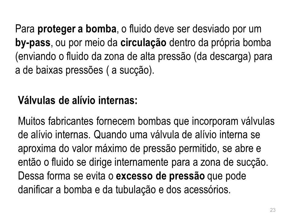 Para proteger a bomba, o fluido deve ser desviado por um by-pass, ou por meio da circulação dentro da própria bomba (enviando o fluido da zona de alta pressão (da descarga) para a de baixas pressões ( a sucção).