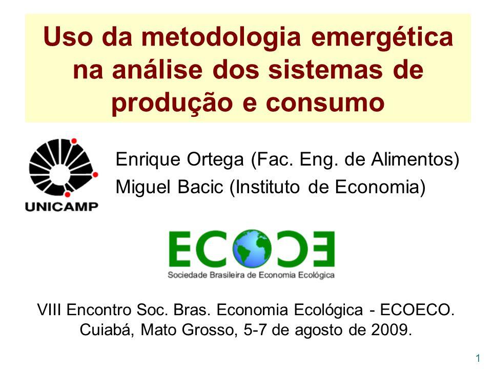 Uso da metodologia emergética na análise dos sistemas de produção e consumo