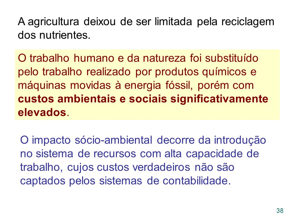 A agricultura deixou de ser limitada pela reciclagem dos nutrientes.