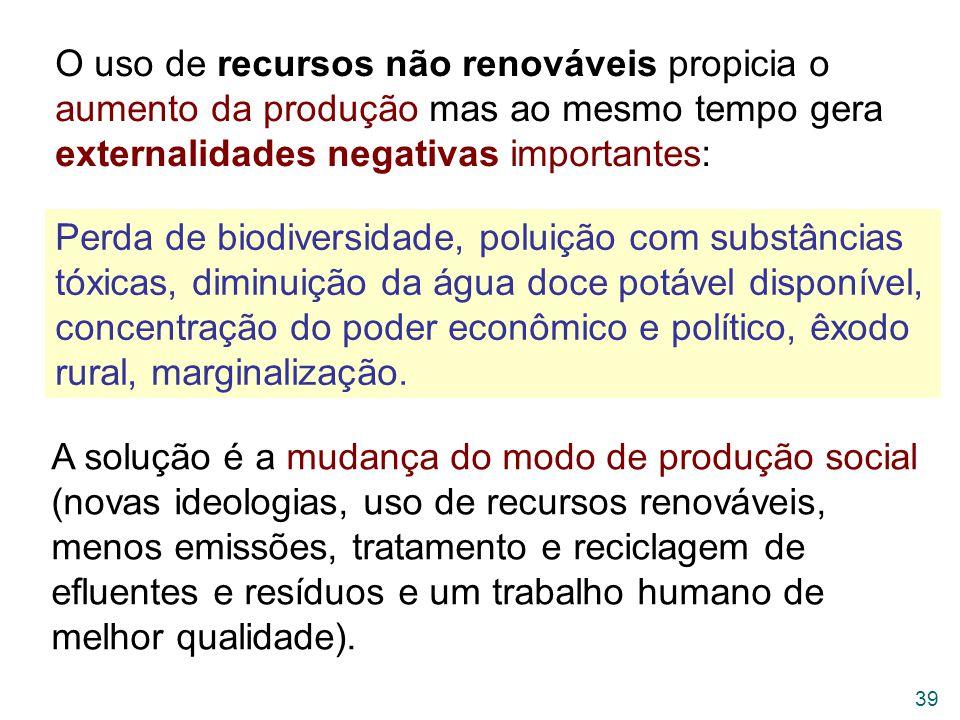 O uso de recursos não renováveis propicia o aumento da produção mas ao mesmo tempo gera externalidades negativas importantes:
