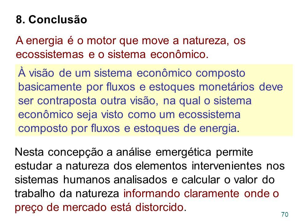 8. Conclusão A energia é o motor que move a natureza, os ecossistemas e o sistema econômico.