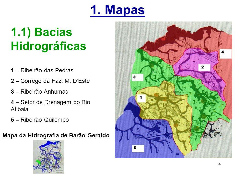 1. Mapas 1.1) Bacias Hidrográficas 1 – Ribeirão das Pedras